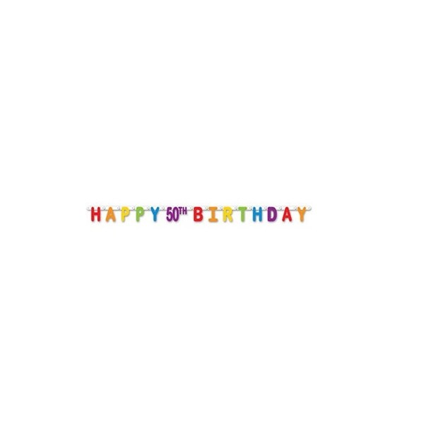 shop pack of 12 colorful jointed happy 50th birthday banner hanging