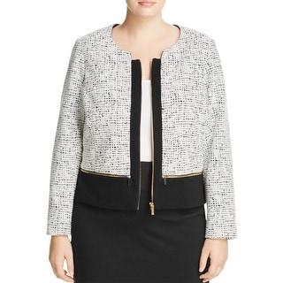 Calvin Klein Womens Plus Crop Blazer Scuba Textured - 18