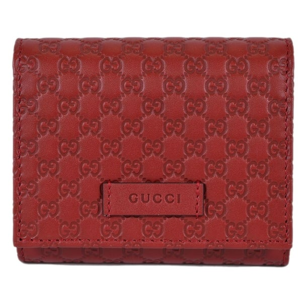 e5f7f06de8b5 Gucci 510317 Red Leather Micro GG Guccissima Small French Wallet W/Coin -  4.5 x