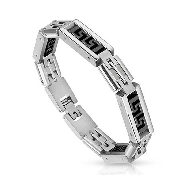 Black IP Maze Pattern Link Stainless Steel Bracelet (10 mm) - 8.5 in