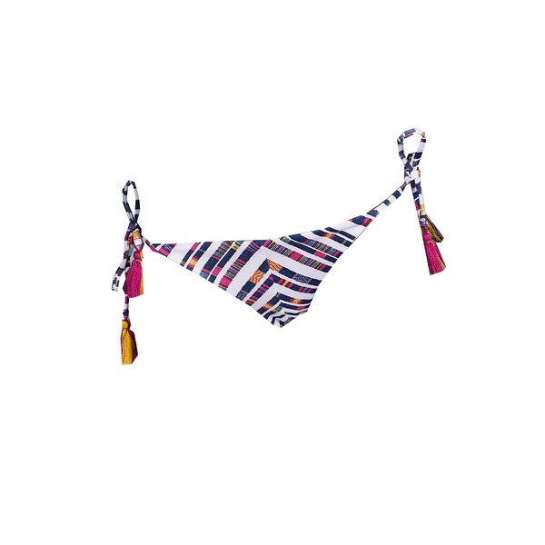 d39afb278d Shop Becca Purple Multi Printed Side-Tie Tassel Bikini Bottom M ...