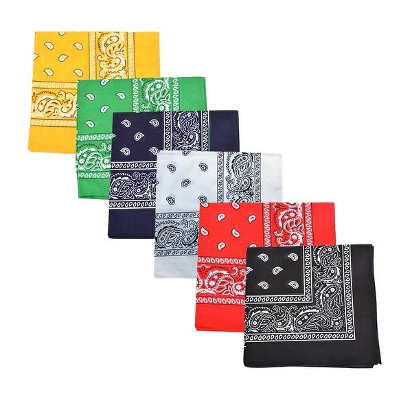 12-Pack Paisley 100% Cotton Double Sided Bandanas - One Size Fits Most