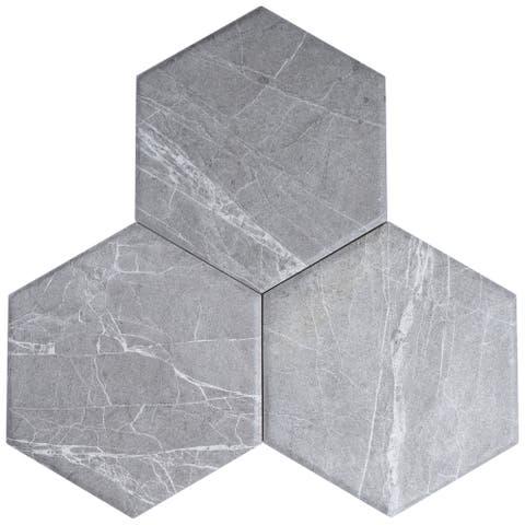 """TileGen. Dorest 8"""" x 9"""" Porcelain Marble Look in Grey Wall & Floor Tile (25 tiles/10sqft.)"""