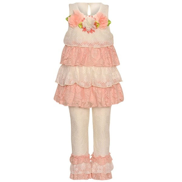 Rare Editions Baby Girls Ivory Coral Lace Tiered Floral 2 Pc Legging Set