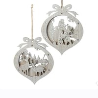 """Club Pack of 24 Deer and Snowman Carved Christmas Hanging Ornaments 5.5"""" - silver"""