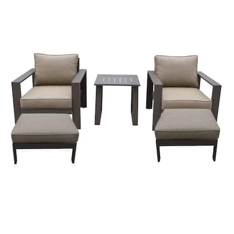 Seaside 5-Piece Outdoor Patio Seating Set by Avery Oaks Furniture - 2x Club Chairs, 2x Ottomans & Side Table
