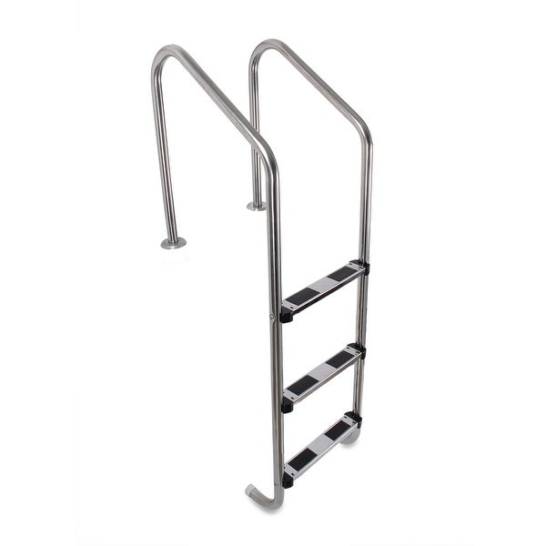Shop arksen above ground swimming pool heavy duty 3 step stainless steel ladder free shipping for Heavy duty swimming pool ladders