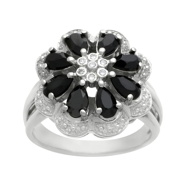 7/8 ct Onyx Flower Cocktail Ring with Diamonds in Sterling Silver - Black