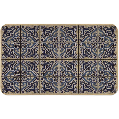 """Natural Linen Look Decorative Low Profile Indoor/Outdoor Floor Mat with Recycled Rubber Back, Shades of Blue, 29.5"""" x 17.75""""."""