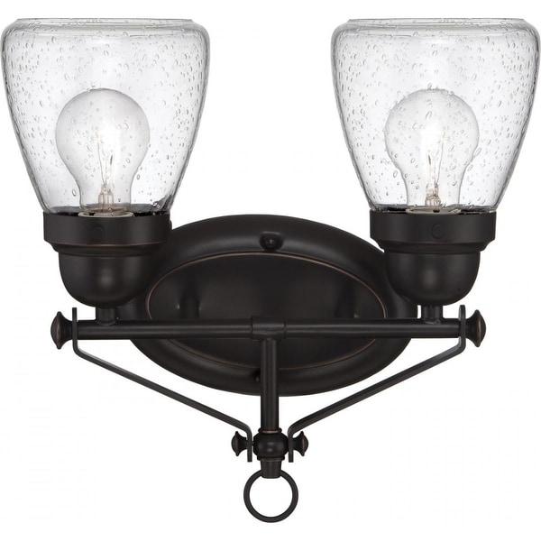 "Nuvo Lighting 60/5542 Laurel 2-Light 12-7/8"" Wide Bathroom Vanity Light with Seedy Glass Shades - sudbury bronze"