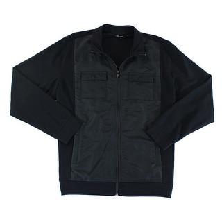 Alfani NEW Black Mens Size 2XL Full Zip Windbreaker Track Jacket