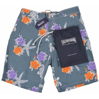 Vilebrequin Men's Grey Floral Starfish Trunks Board Shorts SMALL