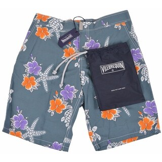 Vilebrequin Men's Grey Floral Starfish Trunks Board Shorts SMALL - S
