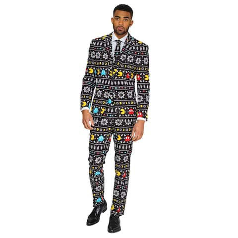 Black and White Winter Pac-Man Printed Men Adult Christmas Suit - 2XL - xx-large