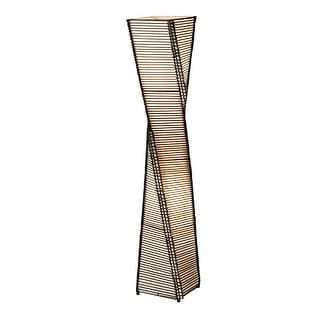 """Adesso 4046 Stix 2 Light 64.5"""" Tall Column Floor Lamp with Black Cane Stick and"""