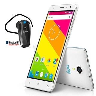 """Indigi 4G LTE 5"""" Android 6.0 QuadCore + DualSim + DualCamera + Bluetooth Bundle - White"""