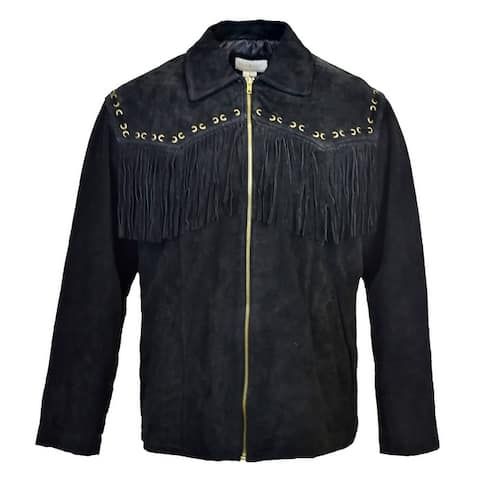 Victory Outfitters Men's Suede Fringe Zip Jacket