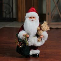 "12"" Santa Claus in Traditional Red Suit Holding a Teddy Bear and Gift Bag Christmas Figure"