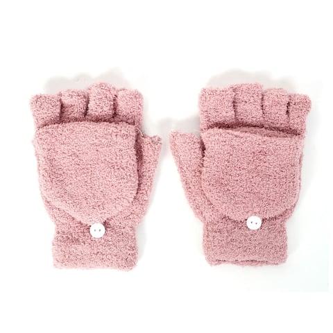 Winter Warm Terrycloth Multi-function Elastic Flip Cover Half Finger Gloves Pair