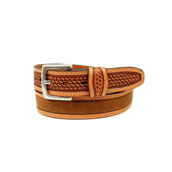 Ariat Western Belt Men Embossed Basketweave Tab Square Buckle