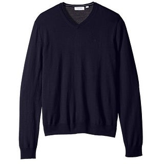 Calvin Klein NEW Blue Mens Size Medium M Solid Pullover V-Neck Sweater