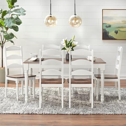 Simple Living Skipton White/ Walnut Wood 7-piece Dining Set
