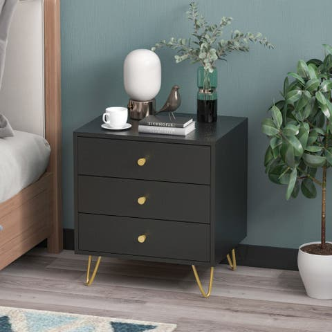 3-drawer Nightstand with 4 Metal Legs