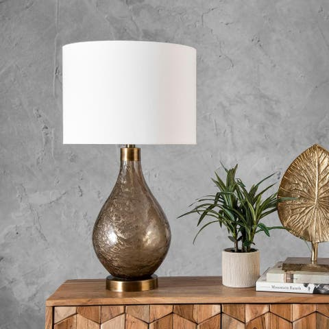 """nuLOOM Astor 25"""" Traditional Glass Beige Table Lamp"""
