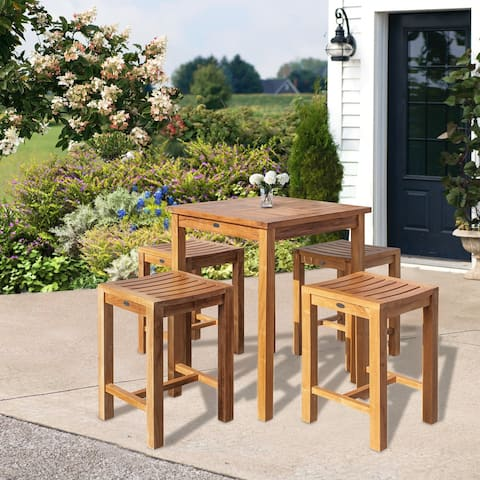 """Chic Teak 5 Piece Teak Wood Seville Small Counter Height Patio Bistro Dining Set, 4 Counters Stools and 27"""" Square Table"""