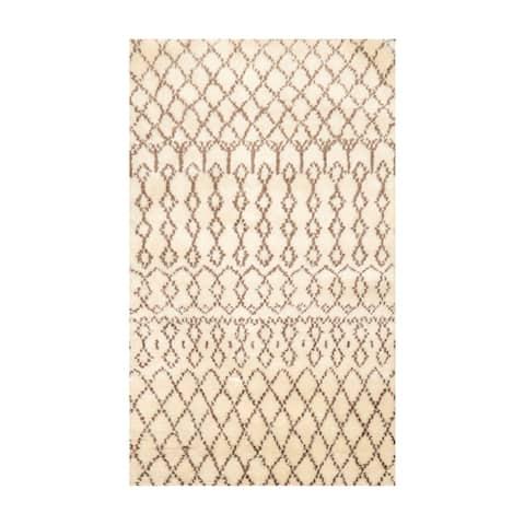 Hand Made Boho Ivory,Brown Shag Wool Oriental Area Rug (3x5) - 3' x 5'