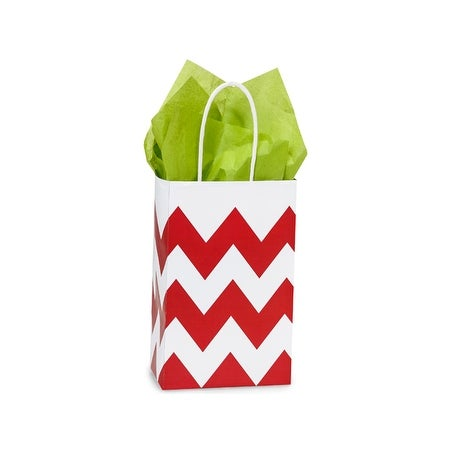 "Pack Of 25, Rose 5.25 X 3.5 X 8.25"" Chevron Stripe Red Recycled White Shopping Bags W/White Paper Twist Handles Made In Usa"