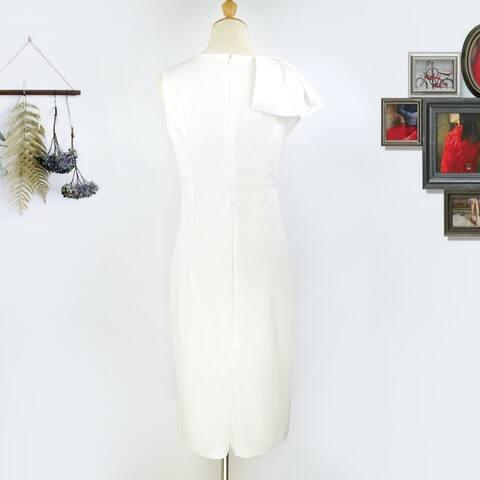 Women's Ruffle Sleeve Pleated Slim Pencil Skinny Dress Evening Dress