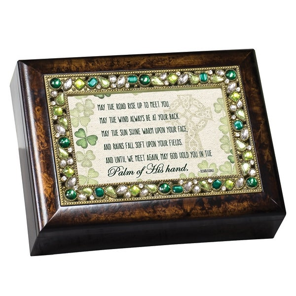 "8"" Brown and Green ""MAY THE ROAD RISE"" Wind Up Music Box - N/A"