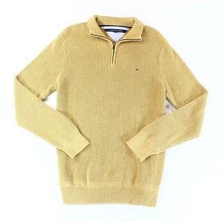 Tommy Hilfiger NEW Gold Mens Size XL Texture Quarter Zip Sweater