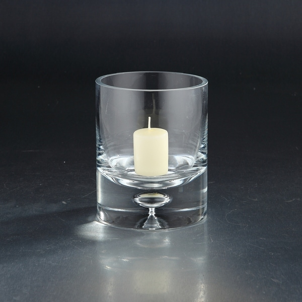"""6"""" Clear Hand Blown Cylinder Glass Candle Holder - N/A"""