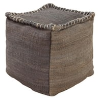 "18"" Charcoal Gray and Cloud Gray Stitched Top Jute Square Pouf Ottoman"