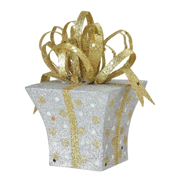 "3"" Christmas Whimsy Silver & Gold Glitter Polka Dot Christmas Tree Ornament - WHITE"