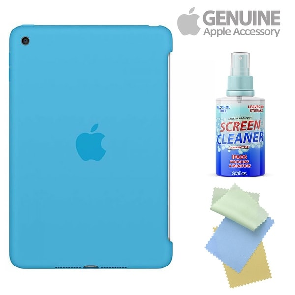 Apple Silicone Case For Ipad Mini 4 (Blue) With Free Cleaning Kit For Iphones/Ipads/Imacs