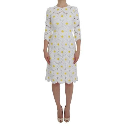 Dolce & Gabbana Dolce & Gabbana White Floral Ricamo Sheath Gown Dress - it38-xs