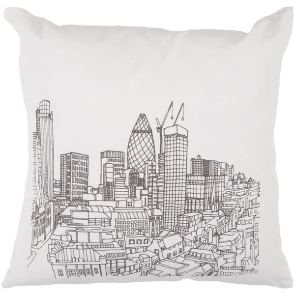 "22"" Winter White and Black City Skyline Printed Square Throw Pillow - Down Fillers"