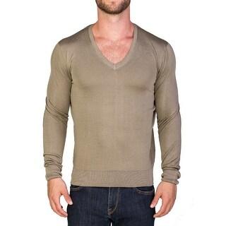 Prada Men's Silk V-Neck Sweater Khaki