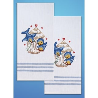 "Stamped Kitchen Towels For Embroidery 20""X28"" 2/Pkg-Bird"