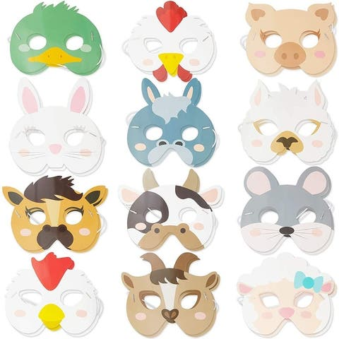 24 Pack Barnyard Farm House Animal Party Masks for Kids Birthday Favors Dress Up