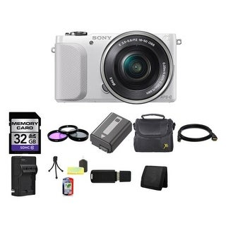 Sony NEX-3NL/W Camera with 16-50mm f/3.5-5.6 Lens (White) + External Rapid Charger Bundle