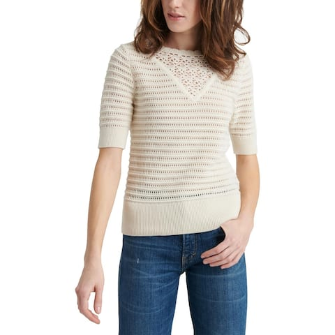 Lucky Brand Womens Pullover Sweater Crochet Short Sleeve