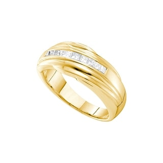 14k Yellow Gold Mens Princess Channel-set Natural Diamond Wedding Anniversary Band Ring 1/2 Cttw - White