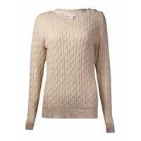 Charter Club Women's Button-Trim Metallic Crewneck Sweater - sweet cream