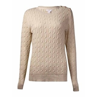 Charter Club Women's Button-Trim Metallic Crewneck Sweater - sweet cream