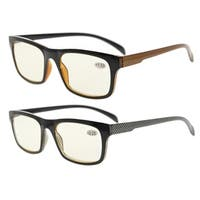 Eyekepper 2 Frame Pack Anti Glare and Non Reflective Blue Ray Blockers Eyeglasses(Yellow lens,+1.00)