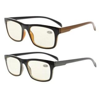 Eyekepper 2 Frame Pack Anti Glare and Non Reflective Blue Ray Blockers Eyeglasses(Yellow lens,+1.75)